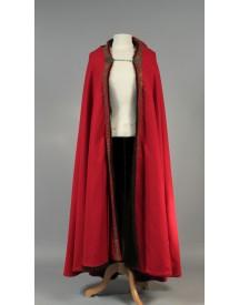 Cape médiévale fourrée rouge